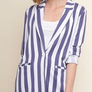 umgee striped blazer denim & white Small